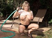 Rachel love - a garden ho. A Garden Ho Gardening is massive work. There's lots of bending over, pulling, hoeing, sweating and grunting involved. You need to know that because you should encourage all the busty women in your lives to take up gardening immediately. Why Because if they are anything like Rachel Love and use this gardening hose like she does, then every day spent gardening would end with a bang! Did we mention that Rachel is busty, blonde and gardens in panties, tight t-shirts and heels Did we also mention that she gets soaking wet and then cock sucking cock, titty-fucks, and rides and then gets coated in cum Well, she does. Who knew that yard work could turn out to be so have sex hot We don't know about you, but we'd like to fire our lawn service guys and hire Rachel to take over their duties. Mostly because although she probably wouldn't do as voluminous a job as our regular guys do, we'd like to see her naked on a riding mower in the middle of the day.  See More of Rachel Love at BIGBOOBSPOV.COM!