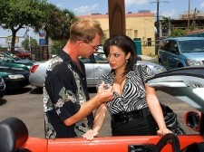 Alexis silver - nailing the sale. Nailing The Sale Imagine car shopping with Alexis Silver. Yeah, we can't either. It's not that we don't want to, it's just that we find our minds drifting to her airbags and not the car's. But juggy Alexis would make a large saleslady. She seems like the type to do whatever it takes to seal the deal. Even if that means throwing in a few extras, and by extras we mean XXXtras. You see, she blows this guy's weekly nut-batter allowance with her jugs shortly after talking to him about a car for purchase. That's right. This guy didn't have to even buy the car to get his dick drained. Remember that next time you forget that you don't have to spend or give to get.  See More of Alexis Silver at TITSANDTUGS.COM!