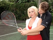 Game  set  cum!. Game... Set... Cum! Her husband's spent great bucks to get a tennis pro to come to their house to teach his wife, Raquel, how to play tennis so they can play together at the country club. The pro is dedicated to his task and tries to get Raquel to improve her grip on her racket. But as soon as she knows her husband is gone, she makes it clear that she'd rather concentrate on a different grip - gripping the young pro's cock. After sucks him silly on the tennis court, she takes him into the guesthouse where she shows that she may be a learner at tennis, but she's a pro at sucks and fucking!See More of Raquel Sieb at BONEDATHOME.COM!