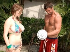 Christy marks - penish workout. Penish Workout Christy loves being active and she loves to share all of her workout tips with anyone who will listen. That's why she got all lustful when she saw Rocco working out in the backyard of the SCORE house. She wanted to give him some workout tips. Or maybe it was that she wanted to work out the tip of his penish We can't remember. All we know is that no man can stay clothed and flaccid around Christy. It's virtually impossible. She adheres to the simple ideology that what goes up, must come down. Only in her version what goes up, most be gone down on. Watch her get a beautiful piping by the pool and get her jugs coated like only Christy can: With a huge smile on her cum-loving face. See More of Christy Marks at CHRISTYMARKS.COM!