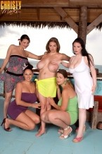 Christy marks - helping hands for hooters. Helping Hands for Hooters When we sent five of the bustiest ladies around (Lorna Morgan, Christy Marks, Gianna Rossi, Angela White and Terry Nova) to the Bahamas to film the feature voluminous Boob Paradise, we hoped that the girls would get along. What we didn't expect was that they would get along as well as they did. In fact, we couldn't get them to keep their hands off one another. If we attempted to do a solo shoot, one or two girls would wander over and then all of a sudden, it was a lezzie Lickapalooza. We finally decided if we couldn't beat 'em, we could beat off to them. So we invited all the girls to shoot together and what happened was a moment in voluminous tit history. Watch as the girls oil up Christy's boobs and knead and squeeze them. If that doesn't get you pumping your dick, then you're dead from the waist down! There is nothing like many helping hands on a pair of libidinous hooters like Christy's. There's a reason this was voluminous Boob Paradise!See More of Christy Marks at CHRISTYMARKS.COM!