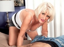 Desire's new hobby: blowjob cock on-camera!. Desire's New Hobby: blow tool On-Camera! I walk a lot. I love to hike and I love to beach comb. I love to go boating, jetskiing, fishing. Don't even think you can outfish me!  So says Desire Collins, a 54-year-old divorcee from Arizona whose fishing skills are not what we're concentrating on here (although we admire the view of her anal when she's fishing something out of the nightstand and we like how she uses her hands and mouth to fish Carlos's dick out of his pants). For a first-timer, Desire has impressive dick-cock sucking skills, but that's because she's not a first-time dick sucker. Not by a longshot. But this is her first time cock sucking dick on-camera. And taking a guy's load in her mouth. On-camera.  I probably should've done this years ago, Desire said. A lot of people have said, 'Why don't you do modeling' But I was never into that. Then I reached this age and somebody said to me, 'Why don't you just try it' Then I saw an ad and I said to myself, 'You know what I'm just gonna go ahead and give it a shot.' So I did and here I am!  And here she is...fishing...for dick. She reeled in a considerable one!See More of Desire Collins at MILFTUGS.COM!