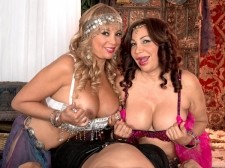 The exotic art of belly dancing, dick gulp and dick tugging. The Exotic Art Of Belly Dancing, tool blowjob And cock Tugging Have you ever heard of topless belly dancers who blow and tug cock In all honesty, we never have. But that's what fantasies are all about. That's why we have Sandra Martines and Marcella Guerra, two real-life belly dancers, dancing to get you elegant, then showing off their tits, then doing their thing with a elegant cock. Sandra blows and tugs it. Marcella tugs it. Both are big-titted Latinas who definitely know how to get a man off. And when this guy gets off, it's on both of their racks.  Sandra is 56 years old. She's divorced. She was born in Arizona and lives in Central Florida. Marcella is 51 years old and divorced. She was born in Colombia and lives in Central Florida. Funny how these things work out: They were both in our studio on the same day. They hit it off immediately. We knew Marcella was a belly dancer but we didn't know that Sandra was, too. This scene was supposed to be Sandra with a guy. But then, your MILFTugs.com editor had a brilliant idea: two Latina belly dancers, one cock. Turn 'em loose! Funny how some of our best ideas spring from elegant-ons.See More of Sandra Martines at MILFTUGS.COM!