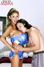 Minka & hung anthony. Minka & Hung Anthony In this scene from SCORE Xtra 12, Minka pairs off for a have sex fling with porn dude Anthony Rosano. When Anthony saw Minka, he could barely contain himself until the cameras were ready to roll. He's never again have sexed a pair of natural tits as big as Minka's since this scene was shot. The closest was Summer Sinn who has a huge bust but nowhere near Minka-size.  Minka's excited two-piece that shows her ultra-slim waistline is really cool. The top throws you off because it looks like both pieces were made from denim shorts. Underneath her top is an equally excited strapless bra. Many of the pictures are geared to set us up as Minka's P.O.V. have sex buddy. The photos of Minka tit-have sexing are, as usual, astounding, whether she's on her knees or on her back.   It wasn't easy for MInka to cock sucking him either. She managed to get half down the hatch in one sequence.This photo set has a lot of jackable angles and positions. See More of Minka at MEGATITSMINKA.COM!