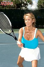 Minka - rack it. Rack It Outside of a few photos Minka once mailed our office a few years ago, we've never seen Minka whacking tennis balls on a court. We asked if we could photograph her playing in one of her personal tennis outfits. We didn't want a pictorial of Minka with tennis as a theme. We wanted to photograph Minka actually playing against an opponent on a real tennis court. The tennis pro who partnered with her for this series of photos was shocked at her extraordinary skills, how rough she hit and how she could handle her racket with such big tits. She's unbelievable, he said. Minka could beat any female player at this club and most of the men. Indeed, back home in Las Vegas, Minka is a sought-after teammate at tournaments and regularly travels out of state to play in singles and women's doubles matches. Minka also plays in charity benefits and usually wins. Minka practices nearly every day and that's no mean feat in Nevada's inhuman spring and summer heat. She's not just the world's #1 Asian Big-Boob Queen. She's the world's #1 Asian Big-Boob tennis superstar.See More of Minka at MEGATITSMINKA.COM!