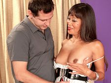Shaved and ass-crammed. Shaved and ass-crammed At 48 years old, Becca Rose has lived a very sexually adventurous life, and while her husband has filmed her many times in private, she'd never modeled like this before she came to our studio. In this scene, her scene, Becca ups the ante with a very kinky encounter. It starts conventionally enough as her date gives Becca his rod and they have sex and suck, trying out different positions. Becca's had lots of sex and her husband encourages her to be sexual.  I climax through clitoral stimulation, says Becca, who has a face made for facials. Many of my encounters have been arranged or instigated by my husband. Most men are too intimidated to approach me for sex so I have practiced overcoming my natural shyness by taking the initiative on occasion. I'm passive, but I have been known to make the first move.  The dude gets kinky on Becca when he fills her bum-hole in missionary and shaves her hair pie...at the same time! A petite operation, for sure, shaving a vagina clean while your penish is moving between her bum cheeks. Becca is game for the kink, something she can watch at home later with her husband!  I hope he likes it, Becca said.  We're sure he will. How many dudes have a wife like this See More of Becca Rose at FLATANDFUCKEDMILFS.COM!