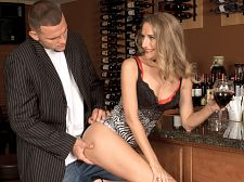 Brandy turns that frown upside-down. Brandy turns that frown upside-down So a guy is sitting at a bar. He's having a bad day until Brandy walks over to where he's sitting. She's wearing a short dress and a excited top. This guy's bad day is about to get a whole lot better.  Is the drink helping any Brandy asks, smiling.  Not at all, the dude says, although he seems to be smiling some.  Maybe I can make you feel better, she says.  Right there At the bar She starts rubbing his crotch. Is she a hustler Nope, she's a MILF who loves picking up young guys and suc their cocks. have sex them, too, of course.  Now, you're probably thinking that it's impossible to have sex a chick on a bar stool.  And you would be wrong. See More of Brandy Smith at FLATANDFUCKEDMILFS.COM!