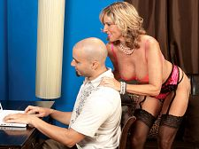 Getting them violent at work. Getting them heavy at work Working heavy Need a stress reliever How about a MILFy stress reliever who's barely dressed in excited lingerie Jodi West is your woman.  After loosening up your neck muscles, she gets your cock muscle heavy then blowjob it like only a mature woman can. She strokes and blowjob and blowjob and strokes, and before you know it, your anatomy is tensing up but all the tension is leaving your anatomy at the same time.  Jodi, a 46-year-old wife from Las Vegas, really knows how to blow a dick, and her shaved pussy takes a lovely pounding, too. Jodi knows her talented mouth and tight vagina have worked their magic by the way you shoot your load on her face. Now back to work, slacker!See More of Jodi West at GRANNYGETSAFACIAL.COM!