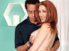 Tracy's first time. Tracy's first time Tracy Tello, a 50-year-old soon-to-be-a-divorcee from Cleveland, Ohio, says she loves being touched. Well, in her first hardcore scene ever, Tracy gets touched a lot by our man Shaggy and does a lot of touching, too, stroking his penish and leg through his pants, then getting on top of him and grinding her plush booty into his lap. By the time Tracy takes his penish out, it's hard.  And why wouldn't it be After all, like we said, Tracy is a first-timer in front of the camera, which is always enough to get us off. And she's a redhead. And she really loves sex.  I just love being able to cumshot as many times as possible, she said. It doesn't matter how a man makes me cumshot, as long as he does it.  So Tracy give suck and fucks in several positions, and where does she take her first on-camera load of cumshot Where do you think See More of Tracy Tello at GRANNYGETSAFACIAL.COM!