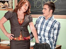 Forget apples mrs king's student gives her a creampie. Forget apples. Mrs. King's student gives her a creampie Mrs. King is one of the most popular teachers in the school. She's a MILF, and on top of that, she's charming to her students. For example, here's Ivan, who she's allowing to make up an exam.  I'm sure I'll do fine, he says to her. By the way, you look great today.  But Ivan takes advantage of Mrs. King by cheating. You know, the old cheat-sheet-up-the-sleeve trick. But she's wise to his tricks.  Let's have it, she demands, then she pats him down. Chest. Legs. Cock, of course. Yeah, she knows that some students like to hide their cheat sheets in their crotches, so Mrs. King digs down deep to find it.  It's in here, isn't it she says as she pulls it out...the sheet, not his cock. That'll come later. You're all distracted looking at me, it's a wonder you learn anything. Know what happens to cheats in my class They get to fucked Mrs. King.  Sounds to us like Mrs. King is rewarding bad behavior, but, hey, the woman is horny, and she likes being 43 and getting attention from her young students.  I'm so glad you caught me cheating, he says as his cock is buried deep in her cheating cunt. It's a wonder students these days learn anything (although Ivan seems to know a lot about creampies). See More of Stacie King at CREAMPIEFORGRANNY.COM!