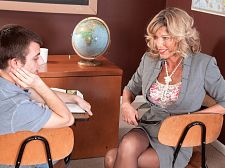 Teacher gets a creampie. Teacher gets a creampie It's not easy paying attention in class when the teacher is a horny MILF like Shannon West and the subject she's teaching is sex education. Oh, sure, your eyes are always on the teacher (how could they not be), but you're not listening to what she's saying. You're thinking about how nice it would be to get some private sex-ed tutoring from her.  So, one day after class, she calls you to the front of the room and asks you what's on your mind. You stammer, turn red, then you say, You're so attractive and you're teaching sex-ed. I can't really focus very well. I'm embarrassed to say that.  She sees no reason for you to be embarrassed and offers a cure for your problem. Maybe you need a hands-on approach, she says.  And then, all of those things you've been fantasizing about They happen! Every single one of them. You even get to ejaculateshot deep inside her kitty and watch your ejaculateshot drip out of her just-fucked 51-year-old kitty. This is one class you just might get an A in. See More of Shannon West at CREAMPIEFORGRANNY.COM!