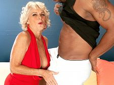 Big black dick makes georgette cumshot massive. Large black penish makes Georgette ejaculate violent At the start of this video, Georgette Parks tells us that she's about to fulfill one of her fantasies. Hey, Georgette has fulfilled so many of our fantasies, it's great that she's fulfilling hers at the same time.  Anyway, this video is the story of a 65-year-old MILF/GILF/nudist/swinger who has done just about everything sexually in life: gang bangs, bukkake, sex with strangers, etc. But there are a few things she still hasn't done. And one of those things is have sexual intercourse a black man.  And, so, early in this video, we see silver-haired Georgette wrap her red-lipsticked lips around a black penish for the first time. She gets it good and wet, penish sucking sloppily. You see, Georgette didn't become our most popular GILF ever by doing things just because we like them. She does things because she likes them, and it shows. She licks the balls. The guy says, Do it! but Georgette doesn't need encouragement.  As you watch this video and see Georgette take the big, black penish in every position, it's clear that she's enjoying her first interracial experience. Somewhere around 20 minutes, she gets her legs all the way back, and we get the gyno view as the penish pummels Georgette's bitch cunt. You have never, ever seen Georgette ejaculate like this. She is completely, utterly overcome...or is it overejaculate  Whatever. Enjoy. Georgette sure did.See More of Georgette Parks at SILVERSLUTS.COM!