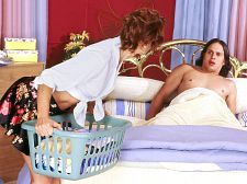 Surprise! it's your girlfriend's mother!. Surprise! It's your girlfriend's mother! Here's some really sleazy shit to rattle your cock. Some guy named Johnny sneaks into his teenage girlfriend's room when she's not around. He gets naked and climbs into her bed, thinking he's going to surprise her with his rough cock, but the surprise is on him: His girlfriend's mother shows up and catches him in her daughter's bed. She's ready to call Johnny's mom, but Johnny convinces her not to. How By eating her pussy.  Hey, that'll always work, especially if the mom is a woman as sexy as Linda Roberts, a 47-year-old hottie from New York who now lives in Los Angeles, California.  Before long, Mrs. Roberts is gobbling her daughter's boyfriend's cock, and all is well. Although we're cute sure Linda's daughter wouldn't be too happy if she found out about this. Which she might if the guy feels compelled to tell her, I boned your mom! See More of Linda Roberts at IBONEDYOURMOM.COM!