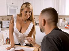 Joclyn fucks her son's best friend. Joclyn fucks her son's best friend This video opens with some dude sitting in Joclyn Stone's kitchen, getting served breakfast (or something). The guy eats like a slob, he drops crumbs all over the place, but somehow, that turns Joclyn on. Hey, what can we say EVERYTHING turns Joclyn on.  Of course, the considerable question is, What's this guy doing here in the first place Apparently, he's a friend of Joclyn's son, which reminds us of one of our cardinal rules: NEVER LEAVE YOUR FRIENDS ALONE WITH YOUR HOT MOM! Hear that, guys If you do, before you know it, he'll be slapping his considerable wiener against her considerable, fat ass, and then all hell is gonna break loose.  Okay. Forget about your mother for a second. Forget about your friends. Just watch Joclyn and jack it. Her orders, not ours.  I've never met a man who can resist my ass, Joclyn said. You wouldn't believe how many times I've heard guys say to me, 'Oh, her ass is too considerable,' but when I offer it up to them, they're always takers.  Joclyn has gotten the same reaction to her haired pussy.  Guys say they're into shaved these days, but don't believe it. Guys are into pussy, and I've never had a guy say to me, 'Oh, Joclyn, I'd fuck you if only you'd shave your pussy.' No way. Shaved or unshaved, they want it.  Thanks for clearing that up, Joclyn. See More of Joclyn Stone at IBONEDYOURMOM.COM!