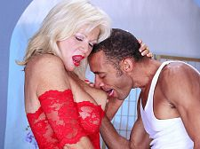 Big-titted 50something strippers gets huge penish. Big-titted 50something strippers gets huge cock This real-life 53-year-old Texas stripper tips a huge-cocked hired hand by offering up her big jugs and shaved, pierced pussy. This busty old broad deserves a big cock, which is why we gave her one.  I was hoping to have the real porn stud experience, Victoria said. I loved when he fuck my tits and came all over my face.  Hey, Victoria, isn't 53 a little old to be a stripper  Don't ask me, she said. Ask the guys who cum in their pants when I give them a lapdance.  We'll take her word for it. See More of Victoria at IFUCKEDTHEBOSS.COM!