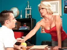 Today's lesson: fuck her ass, cumshot in her mouth!. Today's lesson: fuck her arse, ejaculate in her mouth! Ivan needs condoms, and who better to go to than the guidance counselor, lustful MILF Jenny Mason. Unfortunately, she's out of condoms. Fortunately, she has a solution: butthole sex! A girl can't get pregnant when she gets have sexual intercourse in the arse or, as Jenny so nicely puts it, You don't have to worry about getting pregnant if you take it in the rear.  As young Ivan is about to find out, 43-year-old Ms. Mason is one of those guidance counselors who believes in showing as well as telling. Turns out you can't get pregnant from blowjob dick and balls, either. But what's most interesting about this video is that even though Ivan's dick does go from Jenny's mouth to her arsehole, he ends up fuck her pussy. Uh-oh! Danger zone! Is Jenny going to have Ivan's baby  No worries. Jenny blowjob off Ivan again and has him ejaculate in her mouth. And that, of course, is another way to keep a girl from getting pregnant while still emptying your nutsac. See More of Jenny Mason at GRANNYLOVESYOUNGCOCK.COM!