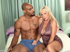 Black cock in naughty alysha's pussy, white ejaculate on her face. Black penish in Naughty Alysha's pussy, white ejaculate on her face It's black-penish time for 40-year-old naughty wife Naughty Alysha, who's impressed by the size of Asante's penish. And he's impressed with what she calls her big, jiggly butt.  I wanna feel that penish a little bit more, Alysha says, and she's being very aggressive, taking control of the situation, calling Asante a horny bitch. He enjoys smacking her butt and making it jiggle.  Alysha enjoys give suck his penish and balls, and when it's time for fucking, she strips down to absolutely nothing and fucks him heavy.  I love big, black penishs, but I love big, white penishs, too, and all sizes of penishs, Alysha said. If it's heavy and can satisfy my pussy, I'm fine with it. And I love ejaculate!  She gets lots of ejaculate here, a whole faceful. Enjoy. Alysha obviously did.See More of Alysha at GRANNYLOVESBBC.COM!