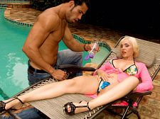 Raquel gets ass-fucked by the pool boy. Raquel gets ass-fucked
