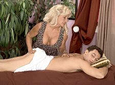 Julia anus rubs one out. Julia anal rubs one out It is a masseuse's job to loosen up your muscles...not tighten them and make them heavy, as Julia anal does to the guy's cock in this scene. When it comes to relieving stress, Julia is large at her job. She jacks the cock. suc it. Sits on top of it. Drains her client of all the stress he has built up over a long, heavy day at work. So, yes, Julia makes certain muscles heavyer. But that's because she's a different kind of masseuse.  I once did a male friend of our 18-year-old son, said Julia, who by our means she and her husband. Yeah, she's married. Yeah, she fucks other guys. And get this about the male friend of her 18-year-old son...  I did him for his 18th birthday, said Julia, who was 55 when this scene was shot. It was like a birthday present. I'd done his father many times before. Doing the kid was his father's idea.  Obviously, Julia loves to fuck. She said her fantasy is to be on a deserted island with several well-hung guys. They'd be walking around with heavy-ons all day, considering Julia is toting around a 36D-26-36 body. See More of Julia anal at BUSTYOLDSLUTS.COM!