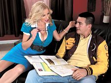 Extra have sexual intercourse help. Extra make love help Johnny's football coach has sent him to Ms. Claus for some extra help. His grades are bad, the playoffs are orgasm up and he needs to perform. Holly is always very concerned about her students' performance, especially her male students' performance.  I have an idea, she says, her DD-cups bulging out of her tight, blue dress. I do some tutoring from home. Maybe after practice, you can come over and work on it with me.  That's fine with Johnny, but when he gets to Ms. Claus' house, he's right back where he started: dazed, confused and kinda brainless.  Why is this important Johnny asks as he reads a text book on sexual reproduction.  Ms. Claus decides to show him why. And it just so happens that Johnny has the book in his lap, so when she runs her fingers over the book to explain, she touches his cock, too.  I think you're getting libidinous about your school work, aren't you Ms. Claus says.  Actually, he's getting libidinous about Ms. Claus stroking his cock.  And away we go!  My, Ms. Claus, what big tits you have!  My, Ms. Claus, what a pierced kitty you have!  Johnny may not be very elegant in school, but he's elegant at eating Holly's kitty. Her moans say so.  So that's what teacher kitty looks like, Johnny says as he spreads her cunt wide.  Well, not all teachers have a kitty like Holly's. And not all teachers have tits like Holly's. And not all of them blowjob and make love like Holly does. But that's why she's at BustyOldSluts.com and they're not.See More of Holly Claus at BUSTYOLDSLUTS.COM!