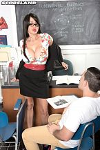 Claudia kealoha - teach is stacked!. Teach Is Stacked! Claudia KeAloha plays one hot and stacked teacher. She's done it before in one of her early visits to SCORE in a scene from large Tit P.O.V. Claudia also has a Masters degree in aggressive dirty talking while she's fucked and even with a cock in her mouth. Few can rival her libidinous lip service, extensive vocabulary and skilled tongue. She drops a bomb on lazy student Peter in this sort of semi-sequel to her first teacher scene. He's happy he has a teacher who cares.A dancer who travels around the USA, Claudia says What happens in the VIP room stays in the VIP room. Whenever she's back in Florida, she lets SCORE know.SCORE: You practice Muay Boran, a Thai martial arts. Have you done foxy-boxing or wrestling-style shows in clubsClaudia: Not in clubs. I have worked with Competitive Enterprises, a mixed fetish fighting company. They would call me every time I was in Vegas. They like me and I have a lot of fans in that genre.SCORE: What's it like for you going through airports with natural tits that bigClaudia: Oh my God, I am the one that knows to get there early. Because for sure they will stop me and search me... go through the seams of my pants and everywhere else.SCORE: We kinda figured that happens.See More of Claudia KeAloha at SCORELAND.COM!