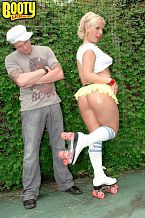 Roller ass. Roller anally Georgia Peach has one of those big, white anales that could bring any man to his knees. And she knows it, too. That's why she likes to roller-skate around in petite skirts, showing off her bulbous pale tail. And like a moth to a flame, this guy is drawn to her anal immediately. He grabs it, spreads it, fingers it, licks it and then he fucks it, which is exactly what any anal-loving man would do if confronted with a butthole like Georgia's. She loves every second of it and never once does she take her skates off. It's almost as if she wants to be able to skate off to the next anal-fucking right after this guy plows her back door. You have to love a excited chick like Georgia. She truly has one of the best white girl booties around.See More of Georgia Peach at BOOTYLICIOUSMAG.COM!