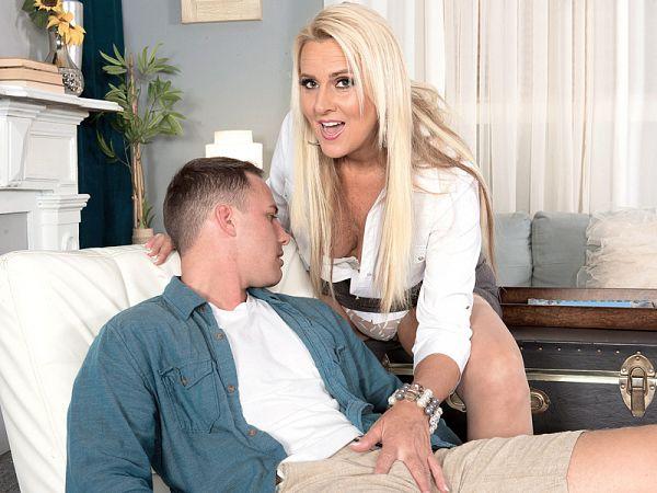 Tall, blonde MILF's first XXX