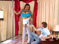 Mianna thomas - bustin' out at the strip club. Bustin' out at the strip club I used to spend a lot of time in strip clubs, handing out singles, getting lap dances and enjoying similar techniques of bettering myself. When I went on a regular basis, I'd only pay attention to the busty dancers. Usually they had boob jobs, which I like, too. Skinny girls were for other men. I never saw a natural in a club with boobs as large as Mianna Thomas' in this fantasy strip show that turns into a XXX bang.Where are all the massively-chested lap dancers Why does no one hire them I go to a club now and then, and everyone is skinny. You mean to tell me that in this large country called America, no huge-boobed natural ever walked into a club applying for a lap-dance position to pay for her unemployed boyfriend's pot and Nintendo expensesWhen Mianna gets off the stage to give a lap dance, she drops her 34JJ-cup boobs on Levi's lap in a sequence that's so well-shot in P.O.V., you'll think it's your lap she's doing it to. Mianna reaches in to cock sucking, spit on and tit-fuck the cock while still using your lap as a boob-shelf. Moving over to the stage, Mianna squats to cock sucking cock and balls hands-free. She uses the pole to keep her balance when she gets have sexual intercourse standing. Not bad for a girl who doesn't strip for a living.At Club SCORE, no one gets lap dances and leaves with blue balls. They get the VIP treatment. To cumshot on Mianna's jugs is one of life's greatest achievements. Few men have accomplished this. See More of Mianna Thomas at SCORELAND2.COM!