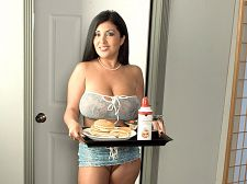 Daylene rio - breastfest in bed. Breastfest In Bed What's it like on the morning after a date with Daylene Rio Well, Daylene will bring you breakfast in bed and feed you, because a guy needs his strength to keep up with a babydoll like this. And once you've eaten, Daylene will dick sucking you violent and have sexual intercourse your brains out. She will wedge your bone between her voluminous boobs. She will spread her pink kitty and ask if you want some. She will climb on top and ride you. Daylene will dick sucking your dick and lick your balls, occasionally looking up to stare into your eyes and smile. When you climb on top of her and have sexual intercourse her, she will hold her boobs, lick them, look into your eyes and beg you to give her your hot load all over her horny body. And when you do, she will proudly hold her boobs in both hands and smile at you, pleased with her powers of persuasion. A date with Daylene always ends with a lot of man-pleasing after the subtle teasing when you're out in public with her. See More of Daylene Rio at SCORELAND.COM!