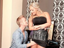 Krystal swift - hair salon hottie Hair Salon Hottie You have lovely breasts, says Dennis as he gets a scalp massage by Krystal, his face a few millimeters away from her spectacular cleavage. Oh, maybe you want to see them asks Krystal. These Czech hairstylists! Why aren't American hairstylists as helpful and as eager-to-pleaseKrystal happily pulls out her twins and Dennis immediately starts suc and motor-boating them. His hair treatment is forgotten. Krystal joins in herself to taste her nipples. She's a lucky girl. She's got them to gulps on every single day.Krystal believes in special treatment so she and Dennis swap positions. He stands and she sits in the salon chair. Dennis fucks Krystal's big breasts with passion and she lowers her head to gulps him stiff with equal gusto. As soon as Dennis penetrates Krystal's pink slit, the ramming begins. Dennis pounds Krystal like a jackhammer. Her screams fill the salon. It looks like a cream rinse will be part of the treatment. Except it will be Krystal who'll be the one getting the cream rinse, not her customer. See More of Krystal Swift at SCORELAND.COM!.