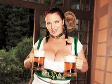 Oktoberbreast. Oktoberbreast Joana gets a little overheated hauling steins of beer at the tavern. So when the crowds depart, she cools down by dropping the beer and going bare.  We don't know if Joana drinks beer. She studies yoga so she may be a teetotaler. (We're titotalers ourselves.) She's a vegetarian, too. Fellow Romanian Lana Ivans says a diet rich in corn can make breasts bigger. Czech dancer Sophie Mae says that natural foods can help. There's also a theory that the hops in beer can make a girl's breasts bigger.  Whatever the facts are, there's no disputing the stimulating effects of a busty beer maid or buxom bartender. You can get boob drunk in no time! Drop your hops and show Joana some props! See More of Joana Bliss at JOANABLISS.COM!