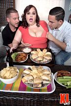 Jordynn takes two. Jordynn Takes Two Jordynn LuXXX and Tony have Peter over to watch the large game. Jordynn, always the dutiful babe, has prepared a feast for the two bros that's worthy of a Las Vegas buffet. But Peter has his eyes glued to Jordynn's large boobs and butt. He's a little envious of Tony who gets to have intercourse Jordynn and play with her large boobs anytime he wants. She and Tony decide to come to his rescue. Football can wait.  Listen, Tony says benevolently as Jordynn giggles. I share the food, I share my girl. Jordynn leans over Peter and begins blowjob his peter while Tony divests Jordynn of her panties for full access. Jordynn turns to cock gulp on Tony, who's swiftly removed his clothes.  Jordynn sits on Peter's pole facing him and mashes her boobs in his face as she rides him while jacking and blowjob Tony. The couch becomes a stage for their dirty dancing three-way. Football What's that So this is the scene Jordynn's been anxious to see. You were have intercourseing fantastic, Jordynn. See More of Jordynn LuXXX at XLGIRLS.COM!