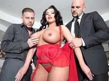 Sheridan love - first threesome. First Threesome Two mob guys are sent by their boss to his home for a special job. Keep an eye on his wife Sheridan Love for the day. If she wants to go shopping or out to lunch, they have to stick with her and make sure she gets home safe and sound and unmolested. If not, then it's badda-bing, badda-boom for the two of them. Sounds like an easy assignmentNot really. The wife is known to be a frisky type who likes to dress excited and flirt. She's a handful and has an unbelievable body and big, soft tits. Some of the boss's men have been known to have gone fishing for taking liberties with his hot wife. Mob guy #1 lets mob guy #2 know to watch it and keep a distance from this maneater.Good advice. Sheridan answers the door when they pull up. She eyes them up and down and wants to know what's going on. When mob guy #1 tells her they're her escorts for the day, she gets annoyed. Eyeing mob guy #2, Sheridan tells mob guy #1 to inspect the premises. When he returns from checking the locks, he's shocked to see Sheridan on her knees blow his associate's boner, the drool dripping from her lips. What the have sexual intercourse is going on here, he yells. You just killed us. We're done. We're done! Well, in that case, Sheridan interrupts, a string of her spit attached to mob guy #2's zucchini. You might as well join in. Seeing the logic in this, mob guy #1 takes his sausage out too and the two syndicate soldiers enjoy their last meal with Sheridan as the main dish. See More of Sheridan Love at SCORELAND.COM!