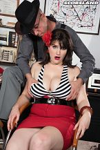 A private dick for a curvy mobster's moll. A Private tool For A busty Mobster's Moll My hobby is sex, newcomer May West said. I also enjoy writing erotica and going to a lot of kinky events. I enjoy going to and being in theater performances.  May's performance as a mobster's moll in this butt boning with private penish Jimmy Dix raises the roof and brings down the house as well as the pants. May won't squeal on her gangster boyfriend so tough guy Dix gives her the penish in every hole he can squeeze into. He's not playing her like a violin. He's playing her like a drum set. His interrogation ends by treating big-boobed, curvy May to a massive cream rinse facial after his chubster withdraws from her plush ass. To her credit, May still won't squeal, see Nyah, she ain't no snitch, see  I enjoy a lot of BDSM activities, May said. Some of my top favorites are spanking, domination and role playing. I love being penetrate in one or several of my holes and stimulating my clit. Being roughly handled. Some like it rough and May is one of those girls. See More of May West at SCORELAND.COM!