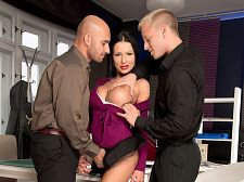 Patty michova - patty michova's office three-way. Patty Michova's office three-way It's impossible to get any work done when a piece of ass like Patty Michova is walking around the office. She's wearing have sexual intercourse-me pumps, a short skirt, stockings and a tight top. She's showing a lot of cleavage. The guys know they're going to be in trouble if they don't finish their assignment, but they also know that their balls are going to burst unless they bury their cocks inside Patty's mouth and cunt. And since Patty is a porn star on the side, she's happy to relieve their stress.Patty Michova...ah, if there were only more women like her. My favorite Patty scene is the one in which she's a stripper and gets make love up the pole. But this three-way is nice damn good, too.And I'll make this admission: Patty would be borderline bust-wise for SCORELAND if she didn't have sexual intercourse. But she does have sexual intercourse and have sexual intercourseing puts her over the top. Sometimes we'll get photos submitted by DD-cuppers. Our first question is, Will she have sexual intercourse If the answer is yes, we might be able to fit her in, to to speak.Of course, as you read this, remember: Girls who are borderline for us are still bustier than 99% of the girls in the world. I'm sure some of the girls who submit their photos to us are shocked when they're rejected because their tits are too small. They've never heard that in their entire lives.Anyway, congratulations to Patty for have sexual intercourseing her way onto SCORELAND, and congratulations to you if you can watch this entire video without busting a nut.See More of Patty Michova at SCORELAND2.COM!
