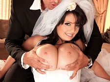 A hot ride for a busty bride. A Hot Ride For A curvy Bride This is one of Arianna Sinn's hottest scenes and it's being shown on SCORELAND for the first time. This scene taps into the wedding night fantasy--the cute bride, the bridal veil and the hot, pure-white honeymoon lingerie. The libidinous bride look is in today all over the world and Arianna was ahead of the curve. Why are brides so damn libidinous They say a woman looks her best on her wedding day. Especially when they have cute faces and bodies and great, big tits.  My first time with a guy was great, Arianna remembered about losing her cherry. It was on the floor. It did not last very long, but it was very exciting because it was the first time.  Whether it's a fantasy photo shoot or the real world, Arianna needs a certain kind of guy to give her the goods.  I like an aggressive man. I want a man who can take charge. I do not want him to be soft with me. I want him to take me elegant and handle my boobs and show me what he wants.  Try finding a bridal cake doll with Arianna Sinn's proportions. Impossible.See More of Arianna Sinn at SCORELAND.COM!