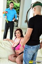 Happy anniversary, krissy not-so-happy anniversary, hubby. Happy anniversary, Krissy. Not-so-happy anniversary, hubby Krissy Rose, a 42-year-old wife and swinger, returns to 40SomethingMag.com and makes a cuckold out of her loving husband. Is that cute Hubby shows up with flowers and champagne for their anniversary only to find that his wife is dressed to have sexual intercourse. Her big, SCORE-sized boobs are pouring out of her lingerie. But she's not dressed to have sexual intercourse her husband She's dressed to have sexual intercourse King Noire's big, black cock.  They don't call him King for nothing.  At this point, Mr. Rose could throw a fit, but what would be the point He's used to Krissy doing stuff like this, and besides, part of him likes to be humiliated and part of him likes to see his wife have sexual intercourseing other men.   So Krissy cock sucking King's cock, then King have sexual intercourses her face, then he drills her MILF cunt and cums all over her boobs.  By the way, check out Krissy's fishnet stockings. They make her look just a little bit sluttier.  And don't feel sorry for Mr. Rose. He gets plenty from his loving wife.  We once had sex in a model home while we were home shopping, Krissy said. We made a mess in the master bedroom. The first time I had sex was with my future husband. We snuck into his parent's RV and he had his way with me. It was the first time for both of us.  But not the last. Not by a longshot. Not by thousands.See More of Krissy Rose at 40SOMETHINGMAG.COM!