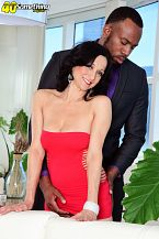 For an encore, more black cock for karma. In her second scene at 40SomethingMag.com, 46-year-old mom Karma Karson blowjob and fucks black cock for the second time. Karma is wearing a short, revealing red dress that most 20-year-olds wouldn't dare wear. She blowjob Jovan's cock, then he fucks her, then he shoves his cock into her mouth and shoots his load all over her tongue and down her throat.  Karma is a dark-haired beauty who has a 25-year-old son and a 19-year-old daughter. She's divorced. She lives in Las Vegas, and she's a cam model. Times have changed. These days, if you see a sexy, mature woman out in public, there's a chance she's a cam model. Or maybe a 40SomethingMag.com model.  Karma's favorite TV show is Long Island Medium. In her spare time, she likes to make jewelry. She likes guys with massive cocks, so it's charming to know she isn't picky. She likes to hang out with her dog (we presume she isn't referring to her boyfriend) and watch movies. She's not a swinger. She's not a nudist.  We asked her if she's into anal. She said, It depends on the partner.  How about JMac More on that next time. See More of Karma Karson at 40SOMETHINGMAG.COM!