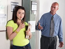 Kylie gives a have sexual intercourse. Kylie Gives A have intercourse I don't give a fuck! Kylie shouts at her principal. Bold behavior for a girl who just got caught smoking. I'm 18 and I can do whatever I want, she says. The principal isn't having it. This naughty teen needs to learn a lesson, so he washes her dirty mouth out with a bar of soap. I'm going to knock some sense into you, the principal says as he slaps his penish on her face. Kylie won't be able to curse with her mouth and throat full of man-meat. After dragging his spit-coated penish all over Kylie's face, she's starting to realize that this school takes deviant behavior very seriously.   It's time for Kylie to show her principal what she's learned. She takes his penish as he pounds her kitty and then goes for a bouncy ride on top. It's safe to say that she knows her place now, and that's on her knees, with her tongue out and a face full of cum.See More of Kylie Quinn at 18EIGHTEEN.COM!