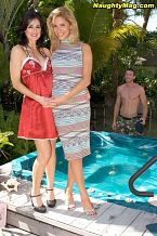 Milf threesome. What's better than have sexual intercourse a MILF How about have sexual intercourse two of them  Lake invited over a couple she met at a bar the night before. They come over to hang out in the jacuzzi outside, and all three soon start to get comfortable. Jordan, the sly fox, forgot his bathing suit, so he enters the jacuzzi naked. This seems to be all the inspiration the MILFs need. They soon give this lucky SOB every man's fantasy--the double BJ. If he were a mere mortal, Jordan would bust all over the girls' two cute faces. Luckily, he has the stamina to fuck them doggie-style in the jacuzzi. But have you ever tried using water as lube That shit doesn't work! They soon move to the grass.  Missionary with one chick Check. Proceed to the next. Cowgirl and reverse cowgirl follows. This guy isn't taking the easy way out, but he finally succumbs to the MILFs' sexual prowess. He lets free a major cum all over their experienced faces.See More of Lake Russell at NAUGHTYMAG.COM!