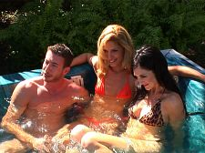 Milf threesome. MILF Threesome What's better than have sexual intercourse a MILF How about have sexual intercourse two of them  Lake invited over a couple she met at a bar the night before. They come over to hang out in the jacuzzi outside, and all three soon start to get comfortable. Jordan, the sly fox, forgot his bathing suit, so he enters the jacuzzi naked. This seems to be all the inspiration the MILFs need. They soon give this lucky SOB every man's fantasy--the double BJ. If he were a mere mortal, Jordan would bust all over the girls' two beautiful faces. Luckily, he has the stamina to make love them doggie-style in the jacuzzi. But have you ever tried using water as lube That shit doesn't work! They soon move to the grass.  Missionary with one chick Check. Proceed to the next. Cowgirl and reverse cowgirl follows. This guy isn't taking the easy way out, but he finally succumbs to the MILFs' sexual prowess. He lets free a major ejaculate all over their experienced faces.See More of Lake Russell at NAUGHTYMAG.COM!