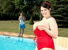 Barbara's poolside fuck. Barbara's poolside have sexual intercourse When I go out, I like to wear horny clothes. I like to wear horny tops and mini-dresses. I always get a lot of attention because of my boobs and, yes, I like that. I always wear a bra except for sleeping.  So says Barbara Angel, a horny, smiling I-cup natural from the land of babes with large tits who have sexual intercourse on-camera, the Czech Republic. Here, Barbara isn't wearing horny clothes. She's not wearing a top or a mini-dress. She's wearing a bathing suit that her large naturals are pouring out of. She's poolside on a pleasant day, and the day is about to become a lot nicer for Barbara and her studly friend.  She give suck his penish. He have sexual intercourses her every which way. Doggie-style, too, of course. She gives him a tit jerk-off before he cumshots on her face and tits. What self-respecting boob man wouldn't cumshot on this beauty's beauties  I thought about being a model for a long time, and then when I spoke to SCORE, I took the opportunity to fulfill this dream, Barbara said.  We asked Miss Angel about this scene, and she said, My favorite position was from behind because he felt nice deep inside me.  Elliot James asked her an interesting question about this scene: You had a joyous expression when Thomas came in your hand and mouth after you rubbed his penish between your large boobs. Do you remember what went through your mind when this happened  And Barbara said, Sure, I did, because so much came out of his penish. I remember breathing very heavily, pulling his penish fast, fast, fast and sticking my tongue out. I wanted to make sure I made him cumshot because in the porn I have watched, you see the man making himself come with his hand after they stop having sex.  pleasant job, Barbara. See More of Barbara Angel at SCORELAND2.COM!