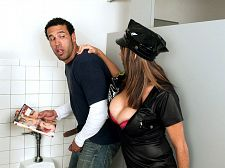 Officer angelina. Officer Angelina Officer Angelina Verdi is making the rounds of her beat and enters a public men's room. She's gotten reports about a pervert sighting. Seems there's some stranger with a copy of busty magazine causing a disturbance.   Officer Angelina sneaks in quietly and observes the perp choking the chicken. She busts him right there, grabs the magazine out of his hand, throws it to the floor, and hauls his bottom over to the station house. She'll get a commendation for this.   After checking to make sure that the perp is not a politician or a celebrity actor subject to instant immunity from prosecution, Officer Angelina offers the cuffed and seated perp several options. The last option is no-fault rehabilitation, administered personally by Officer Angelina.   Perverts like you shouldn't be jacking off in a corner, the officer informs the perp as she lowers herself to his level. They should be have sex big-titted sluts like me, Officer Angelina says as she extracts his cock out of his fly, sticks out her tongue to lick it and rubs it between her big natural breasts bulging over her demi-bra.   If this miscreant doesn't have sexual intercourse her really good, she warns, it's jail for sure. He'll soon learn that Officer Angelina's concept of rough time is different from the usual definition. With natural breasts like she has, the words slammer and busted also take on new meaning. Officer Angelina oughta pose for SCORE because she looks fully qualified! See More of Angelina Verdi at SCORELAND.COM!
