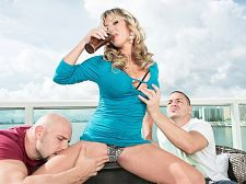 Two heavy cocks for brandi fox. Two large cocks for Brandi Fox I get a lot of compliments that I have a bubbly personality and that I'm libidinous, said Brandi Fox, a 45-year-old wife and mother who lives in Houston, Texas.  Peter and JMac, her have sexual intercourse friends in this three-way, can attest to both. She uses her bubbly personality (and hot body) to get their cocks out. Then she shows how libidinous she is by suc and have sexual intercourseing them. Most 45-year-old wives and moms do not have three-ways with younger guys for all the world to see, but Brandi isn't like most women.  These days, she's also going by the name Sky Haven. She says the best part about being a sweet woman is I get to model. And also I get away with things that normally people don't get away with. All people are attracted to me in a sweet way.  Especially men. Especially 40SomethingMag.com members.  I have a lot of energy and I'm very strong, Brandi said. I'm a really sweet dancer.  Fact: Women who dance well have sexual intercourse well (and we've heard women say the same thing about men).  Fact: Brandi is a really sweet have sexual intercourseer.  In this scene, Brandi has invited JMac and Peter over to her bayfront condo to have some fun. Brandi's husband is out of town, and that means she can do whatever she wants with whomever she wants. The guys manage to keep up with her, and that's not easy. They have sexual intercourse on the couch. Brandi keeps up a sweet sucks job rhythm even while she's getting have sexual intercourseed. Then she gets down on her knees and opens her mouth for their cum.  Bubbly personality, ehSee More of Brandi Fox at 40SOMETHINGMAG.COM!