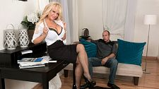 Busty milf's first time. Busty MILF's first time I can dress conservative or lustful slutty, said Bella Dea, a busty 54-year-old MILF from Southern California.  Here, Bella's attire is what we call business slutty. It's certainly not conservative, not with her boobs popping out of her button-down blouse and those fishnet stockings she has on. But if she buttoned a few buttons, you might call her attire businesslike.  In this scene, Bella goes about her business of suc Jimmy's dick and riding it hard. Jimmy goes about his business of dropping his load in her mouth. This is Bella's first video at 50PlusMILFs.com, and it's a cute one. There's something slutty about her. We think she might look slutty even in conservative clothing, and we mean that as a compliment.  Bella has DDD-cup boobs and two daughters. We have no idea why we put those two facts in the same sentence. She's worked in television and film. She's been a makeup artist. She's been a fetish model. Now, she's on her way to becoming a porn star.  She's had sex with younger men. I like to teach them new tricks, she said. She likes to be watched while having sex. She's into women. We're into her. Jimmy's definitely into her. Just watch.See More of Bella Dea at PORNMEGALOAD.COM!