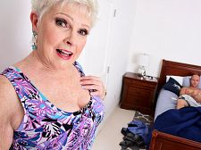 Bjewel is a granny jimmy is her grandson's friend/b. Jewel is a granny. Jimmy is her grandson's friend Jewel walks downstairs to wake up her grandson, who was out partying the night before and is going to be late to work. But when she walks by her grandson's bedroom, she finds his friend jacking off. She either can't believe he's jacking off or can't believe the size of his penish. She starts touching herself then decides to walk in on him. He doesn't stop jacking his penish even while she's talking to him.   I'm sorry, Jimmy says. It just feels so sweet.  She's heard that before.  It's quite odd, sitting here jacking your penish, 67-year-old Jewel says.  I'm sorry, Jimmy says.  Wouldn't need any help with that, would you  I was thinking about you in this morning, Jimmy says.  Maybe I can help you with that, Jewel says. What do you think  He thinks it's a sweet idea. She compliments him on his penish. He compliments her on her tits. He's fantasized about fuck her, and now she's going to make those fantasies come true.  My grandson does not need to know everything I do, she says before she goes down on his cock and starts suc it.  And before long, this Southern belle, one of the most-popular wives and grannies ever, is suc his cock and getting make love. And then Jimmy's cumshot all over her inviting face.  Question: What do you want to see Jewel do next (anal is not on the menu, by the way). Got any favorite Jewel scenarios Have you ever make love your friend's mother or grandmother If so, tell us what happened.See More of Jewel at 60PLUSMILFS.COM!
