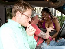 Curvy workin' sista. Busty Workin' Sista Driving around, JT brags about his latest sexual exploits. His buddy CJ gets an earful and admits that he doesn't get any pussy. JT will not stand for this outrage and demands that his friend let him treat him to a girl for 15 minutes.  They spot Miss Stacy Adams on her turf looking to befriend lost men and provide them with her trained, expert consultation.   Stacy and her new boyfriends head to a trysting area so they can discuss CJ's issues in detail. She gives CJ some head which gets JT worked up so both guys start fucked her. They take turns fucked her mouth and whore-cunt in as many positions as this kind, gracious lady will grant them for their dollars.   Stacy jerks their cocks off, splattering her big ebony natural tits as a farewell gesture because she truly has a heart of gold. Her benevolence and kindness are a lesson for us all. See More of Stacy Adams at SCOREVIDEOS.COM!
