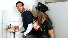 Officer angelina. Officer Angelina Officer Angelina Verdi is making the rounds of her beat and enters a public men's room. She's gotten reports about a pervert sighting. Seems there's some stranger with a copy of busty magazine causing a disturbance.   Officer Angelina sneaks in quietly and observes the perp choking the chicken. She busts him right there, grabs the magazine out of his hand, throws it to the floor, and hauls his butt over to the station house. She'll get a commendation for this.   After checking to make sure that the perp is not a politician or a celebrity actor subject to instant immunity from prosecution, Officer Angelina offers the cuffed and seated perp several options. The last option is no-fault rehabilitation, administered personally by Officer Angelina.   Perverts like you shouldn't be jacking off in a corner, the officer informs the perp as she lowers herself to his level. They should be make love big-titted sluts like me, Officer Angelina says as she extracts his dick out of his fly, sticks out her tongue to lick it and rubs it between her big boobs bulging over her demi-bra.   If this miscreant doesn't make love her really good, she warns, it's jail for sure. He'll soon learn that Officer Angelina's concept of violent time is different from the usual definition. With boobs like she has, the words slammer and busted also take on new meaning. Officer Angelina oughta pose for SCORE because she looks fully qualified! See More of Angelina Verdi at PORNMEGALOAD.COM!
