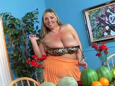 Devin does south beach ch 5. Devin Does South Beach Ch. 5 A tableful of melons and other fruits before her prompts Devin to say that fruits are libidinous and orally stimulating. I think fruits are sensual...just like me, Devin says.   In this final chapter of the DVD Devin Does South Beach, Devin's boobs are shoehorned into a too tight leopard-skin bra, which creates heavy cleavage mounds. She points out that in paintings throughout history, couples are shown eating fruits while indulging in titillating pastimes.   As the camera rolls, Devin has a taste of these juicy foods to warm up her titillating engine. Devin says that in high school, her nickname was Peaches. There will be cream in this video. Yes, there will be cream. See More of Devin Taylor at XLGIRLS.COM!