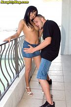 Almost a milf. Tatiana is 31, which qualifies her to be a MILF (although she's not a mother). That's important because a 21-year-old girl might be a little hesitant to do what Tatiana does in this video, but a 30something woman won't be. When the video opens, we're at a marina in South Florida. Tatiana is wearing a tight, white T-shirt and a very short, denim skirt. She's on the phone, but our rude cameraman interrupts her anyway. She's shopping for boats. He wants to go shopping with her. She's a bit freaked out by our cameraman, who invites her up to a friend's apartment to see the view. Of course, the only view he wants to see is the one he'll get when she bends over. Well, she falls for the oldest line in the book--what is it with these porno chicks--or maybe she knows it's a line and just wants to fuck. Like we said, she's a MILF. Well, in the end, Tatiana doesn't go shopping. She goes suc and have sexual intercourse with our big-dicked stud. And that's what being a MILF is all about. See More of Tatiana Del Villar at NAUGHTYMAG.COM!